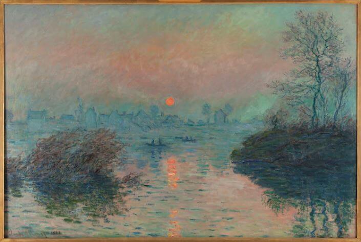 """Claude Monet, """"Soleil couchant sur la Seine à Lavacourt, effet d'hiver"""" (1880), oil on canvas, from the collection of Petit Palais (CC0 Paris Musées  Musée des Beaux-Arts de la Ville de Paris, Petit Palais)"""